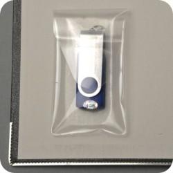 Pochette adhésive pour clée USB 52 x 90 mm avec rabat