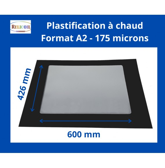 Pochette de plastification A2 426x600 mm Epaisseur 175µ 2 faces brillantes Boîte de 50
