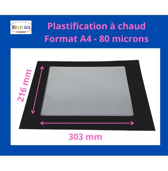 Pochette de plastification A4 216x303 mm Epaisseur 80µ 2 faces brillantes Boîte de 100