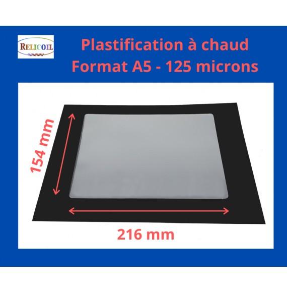 Pochette de plastification A5 154x216 mm Epaisseur 125µ 2 faces brillantes Boîte de 100