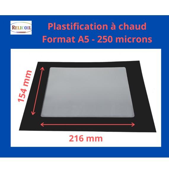 Pochette de plastification A5 154x216 mm Epaisseur 250µ 2 faces brillantes Boîte de 100