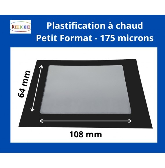 Pochette de plastification 64x108 mm Epaisseur 175µ 2 faces brillantes Boîte de 100