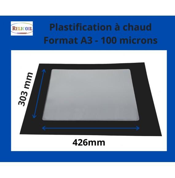 Pochette de plastification A3 303x426 mm Epaisseur 100µ 2 faces brillantes Boîte de 100