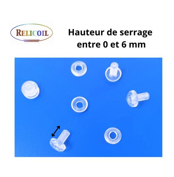Rivet plastique 0-6 mm avec trou a visser par 1000